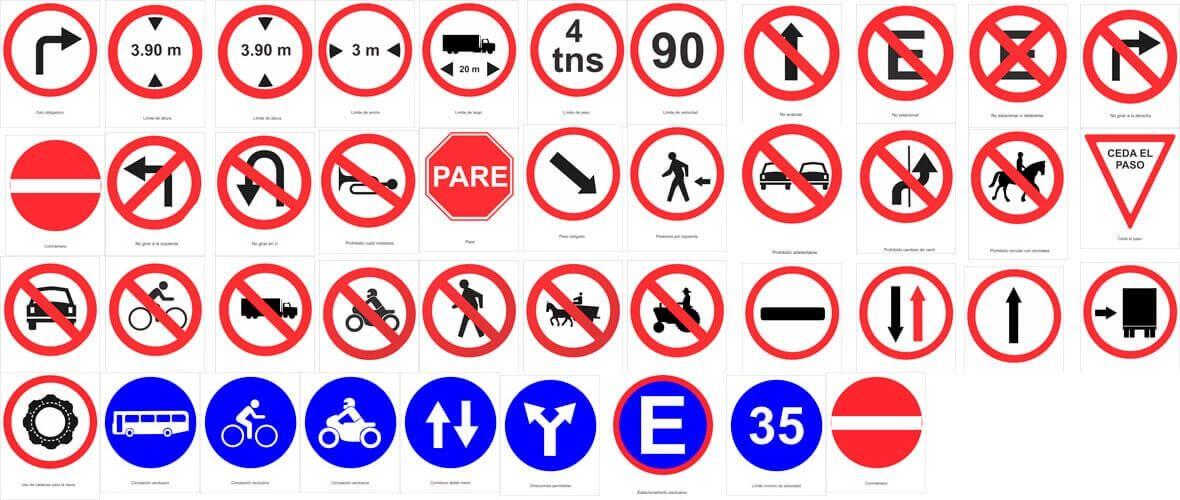 Señales de tránsito reglamentarias, prohibitivas, prohibidas
