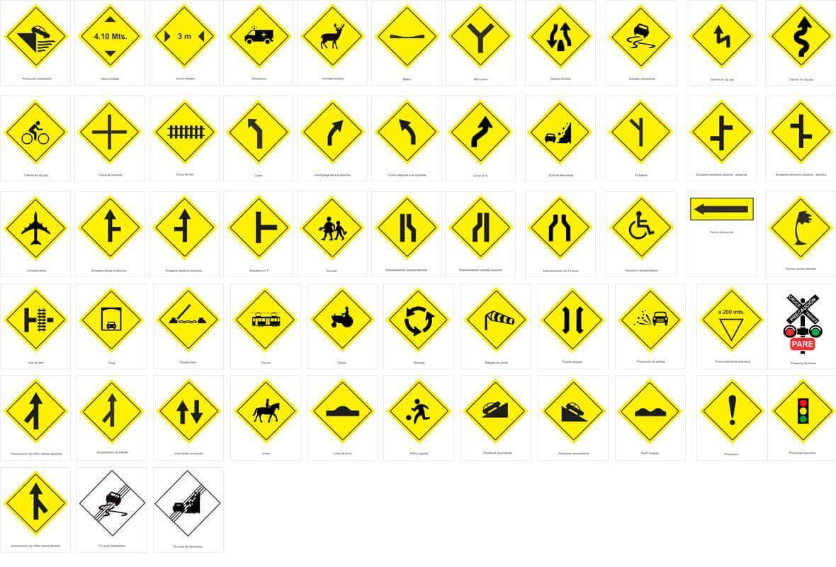 Señales de tránsito y viales. Significados, colores y formas